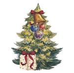 Aplique Decoupage Natal Litoarte APMN8-088 em Papel e MDF 8cm Pinheirinho de Natal com Sino
