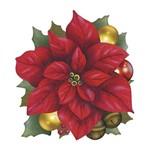 Aplique Decoupage Natal Litoarte APMN8-089 em Papel e MDF 8cm Poinsétia com Bolinhas de Natal