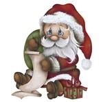 Aplique Decoupage Natal Litoarte APMN8-093 em Papel e MDF 8cm Papai Noel Sentado