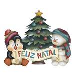 Aplique Decoupage Natal Litoarte APMN8-094 em Papel e MDF 8cm Pinguim e Pinheiro de Natal