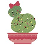 Aplique Decoupage Natal Litoarte APMN8-104 em Papel e MDF 8cm Cacto com Laço e Luzinhas