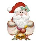 Aplique Decoupage Natal Litoarte APMN8-105 em Papel e MDF 8cm Papai Noel com Laço