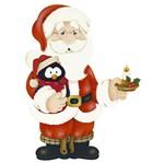 Aplique Decoupage Natal Litoarte APMN8-106 em Papel e MDF 8cm Papai Noel com Pinguim