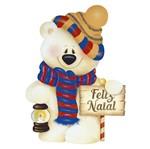Aplique Decoupage Natal Litoarte APMN8-107 em Papel e MDF 8cm Urso e Placa