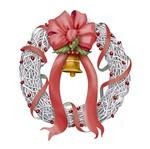 Aplique Decoupage Natal Litoarte APMN8-115 em Papel e MDF 8cm Guirlanda com Fita Vermelha
