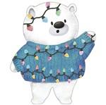 Aplique Decoupage Natal Litoarte APMN8-140 em Papel e MDF 8cm Urso Pisca Pisca