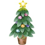 Aplique Decoupage Natal Litoarte APMN8-147 em Papel e MDF 8cm Árvore