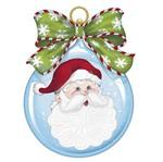 Aplique Decoupage Natal Litoarte APMN8-138 em Papel e MDF 8cm Papai Noel Bola