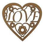 Aplique em MDF 15x15cm Coração Escalopado Love - Palácio da Arte