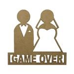 Aplique em MDF Noivos Game Over 14x15cm - Palácio da Arte