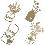 Aplique em MDF Potes Flor Love com 4 Peças - Palácio da Arte