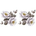 Aplique em Tecido Rosas Brancas Atm005 - Toke e Crie By Mamiko