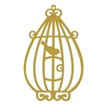 Aplique Madeira Decorativa Gaiola Passarinho Dourado Lmd-003 - Litocart