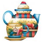Aplique Madeira e Papel Bule de Chá Lmapc-105 - Litocart
