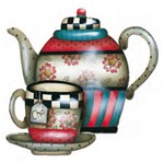 Aplique Madeira e Papel Bule e Xicara de Chá Lmapc-107 Litocart