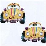 Aplique MDF Decoupage com 2 Unidades Carro Fusca Amarelo LMAP-056 - Litocart