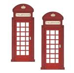 Aplique Mdf Decoupage com 2 Unidades Telefone Londres Lmap-069 - Litocart
