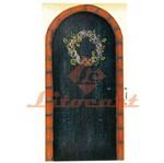 Aplique Mdf Decoupage Porta Preta com Flores Lmapc-318 - Litocart