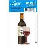 Aplique Mdf e Papel Litoarte 8 Cm - Modelo Apm8- 183 Garrafa de Vinho