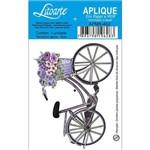 Aplique Mdf e Papel Litoarte 8 Cm - Modelo Apm8- 482 Bicicleta com Cesto de Flores