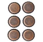 Aplique Metálico Tampinhas Adesivadas Cobre Vintage Am128 - Toke e Crie
