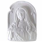 Aplique Religioso Oval Imaculado Coração de Maria 9x6,6cm - Resina