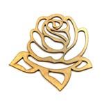 Aplique Rosa Bojo com Folhas Vazado - MDF a Laser