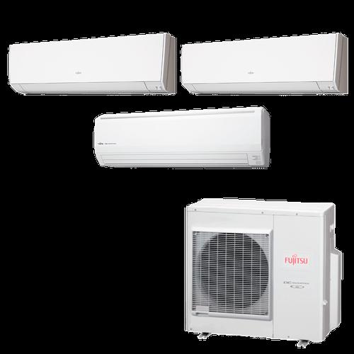 Ar Condicionado Multi Split Inverter Fujitsu 35.000 BTUs (1x Evap HW 9.000 + 1x Evap HW 12.000 + 1x Evap HW 18.000) Quente/Frio 220V