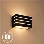 Arandela Frisada Luminária Preta Muro Parede Externa G9 Kit 06 Unidades