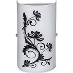 Arandela Venus Flores Pequena Metal/Vidro Preto e Branco - Attena