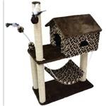 Arranhador para Gatos com Casinha, Rede e Sisal Estampa Girafa