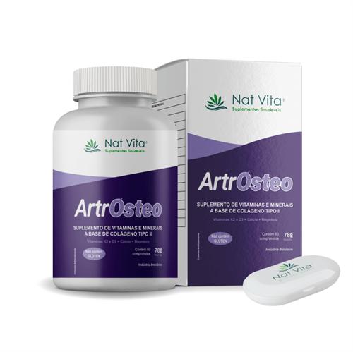 ArtrOsteo - Suplemento de Vitaminas e Minerais a Base de Colágeno Tipo II 60 Cápsulas