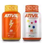 Ativil Energy Fitoway Cafeína 105mg 30 Caps + Ativil Multivitaminas a A Z Fitoway 90 Caps