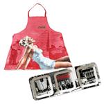 Avental de Cozinha Pin-Up Blonde Lady + Petisqueira Coca Cola Retangular em Melamine Fabric Work