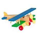 Aviao de Madeira - 17 Pecas Colorido Carlu Brinquedos