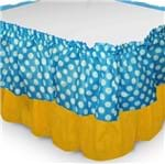 Babado de Mesa de TNT Azul Poá Branco C/ Amarelo