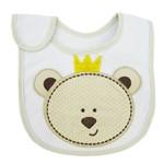 Babador Masculino Branco e Cáqui Bordado de Urso com Coroa