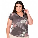 Baby Look Estampada com Tape Lateral Plus Size M