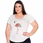Baby Look Flamingo Bordado Plus Size P