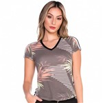 Baby Look Folhagens e Listra Lateral M