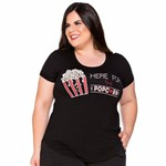 Baby Look Pop Corn com Perolas Plus Size M