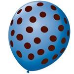 Balão 9 Poá Azul Claro e Marrom