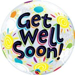 Balão Bubble - Get Well Soon - 22 Polegadas - Qualatex