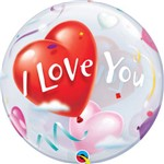 Balão Bubble - I Love You - 22 Polegadas - Qualatex