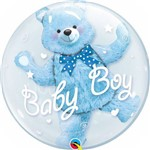 Balão Bubble - Urso Baby Boy - 24 Polegadas - Qualatex