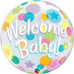 Balão Bubble - Welcome Baby - 22 Polegadas - Qualatex