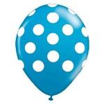 Balão de Látex Azul com Bolinhas Brancas 10? com 25 Unidades Balloontech