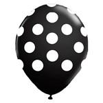"""Balão de Látex Preto com Bolinhas Brancas 10"""" com 25 Unidades Balloontech"""