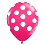 Balão de Látex Rosa Maravilha com Bolinhas Brancas 10? com 25 Unidades Balloontech