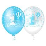 Balão Decorado 1 Aninho Azul Tamanho 10 C/25 - Pic Pic